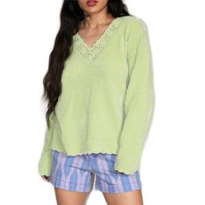 Carolyn Taylor Pastel Lime Green Acrylic Sweater M